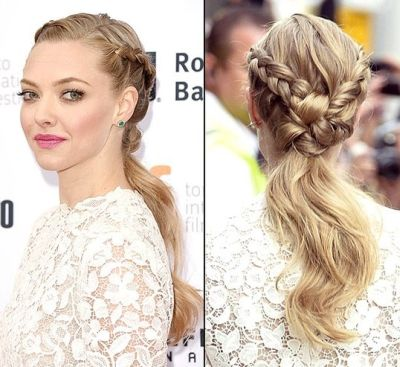 Double fishtail braid with light blonde hue