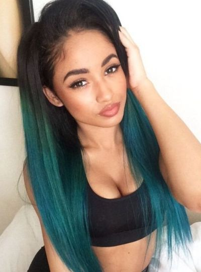 Electric blue hair color for olive skin