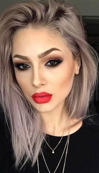 Grayish hair color with lilac undertones