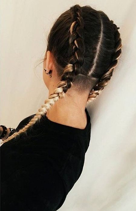 Long braids and shorn nape