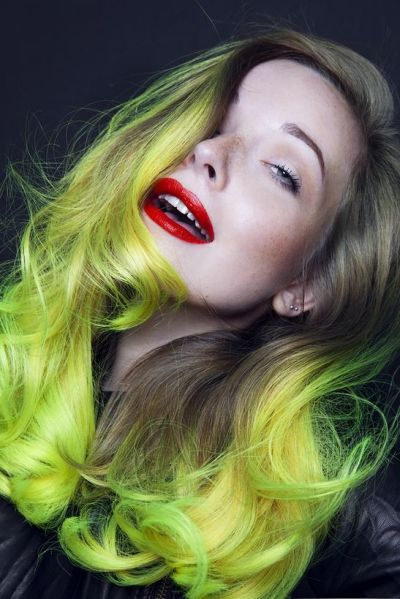 Neon yellow green ombre