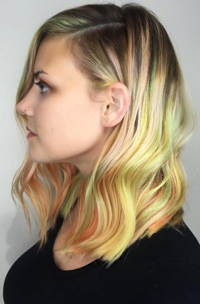 Neon balayage blonde hair color for fair skin