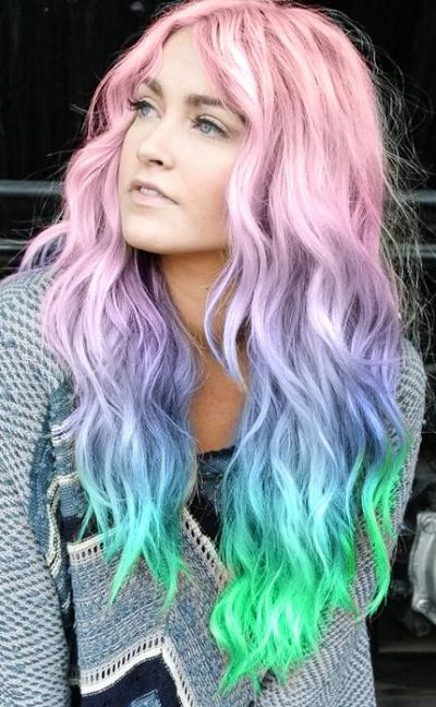 Pink blue neon green pastel rainbow hair