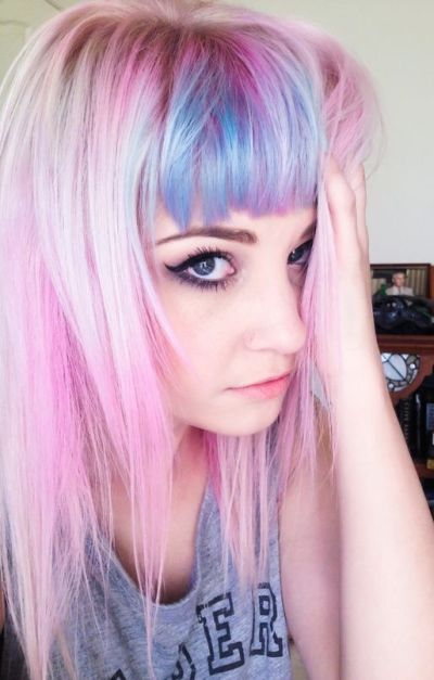Pink hair with blue bangs