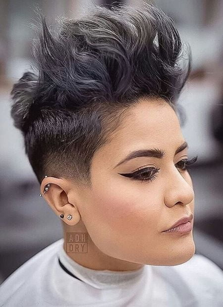 Pixie hawk hairstyle for women