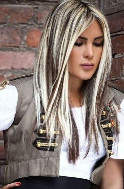 Platinum blonde with black highlights
