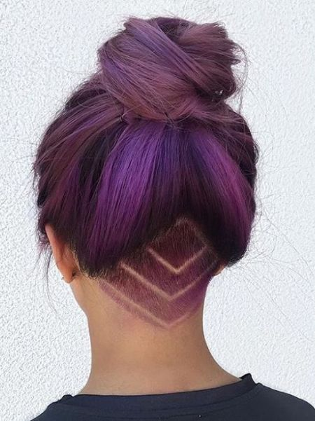 Pretty purple undercut hairstyle for long hair