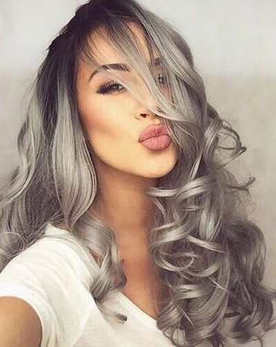 black and grey hair styles a millennial s guide to gray hair dye hairstyles 7687 | Salt and pepper gray on big wavy hairstyle