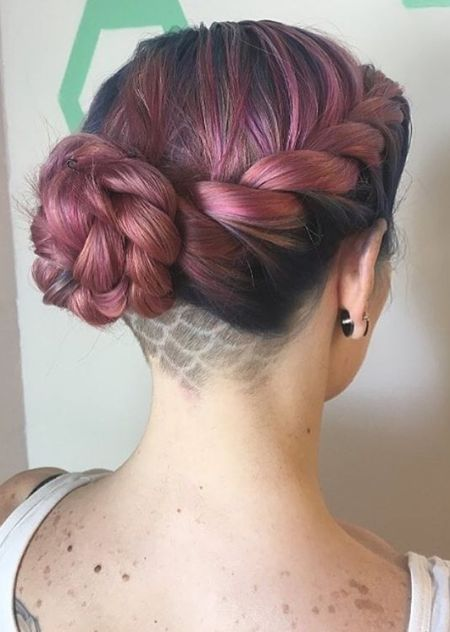 Shaved updo hairstyle for women