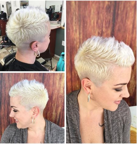 Some crazy women shaved hairstyle