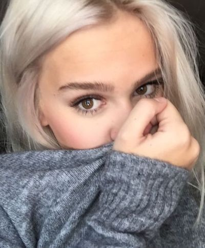 Silky sleek shiny white blonde for brown eyes