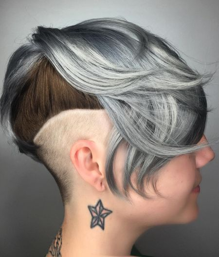 Silver and brown hair with undercut hairstyle