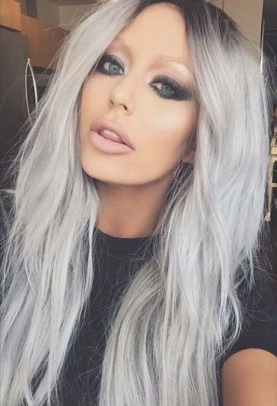 Metallic Silver Hair Color To Turquoise Hair Color Melt By
