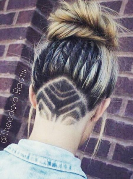Top bun and cool nape design undercut