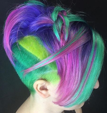 Undercut rainbow pixie with top braids