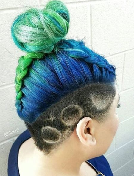 Undercut and braided bun hairstyle