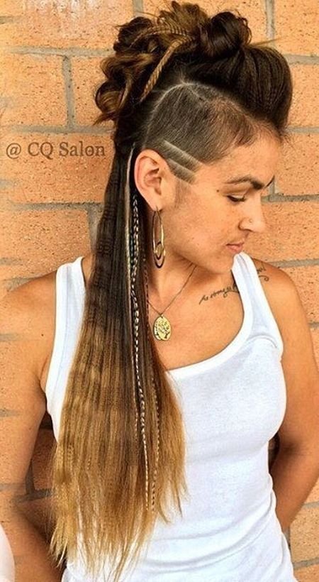 Updo mohawk sidecut and long crimped hairstyle
