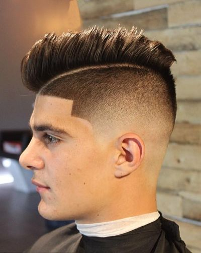 Bald fade side part haircut