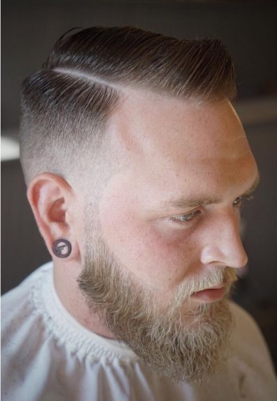 Classic contoured razor part fade haircut
