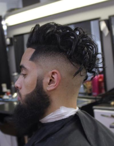 Curly high fade haircut