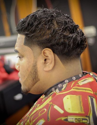 Curly hairstyle with undercut