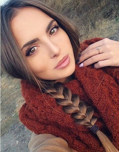 Deep brown fishtail braid