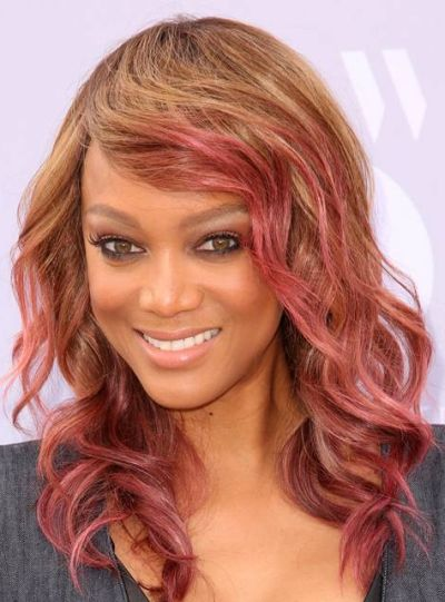 Fuschia pink highlights on brown hair