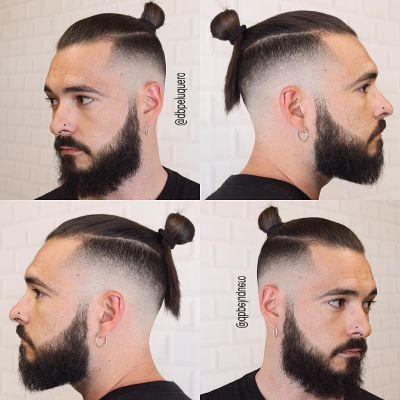 High fade and top knot