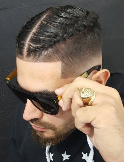 Low fade and double braids