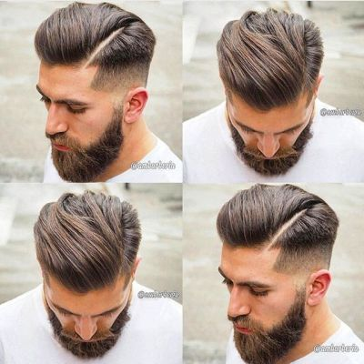 Medium length combover with buzz fade