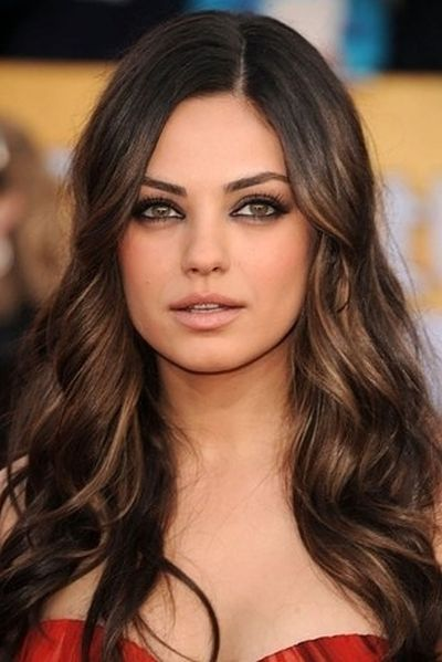 Natural brunette hairstyle for warm skin tone