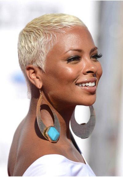Platinum blonde on medium brown skin