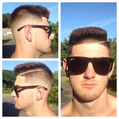 Razor parted flat top faux hawk combo cut