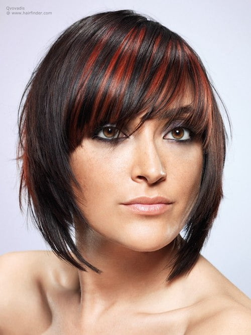 streaked colored bangs