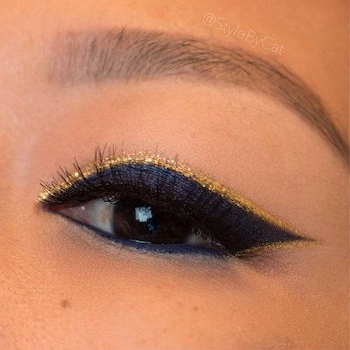 gold eye makeup hightlights