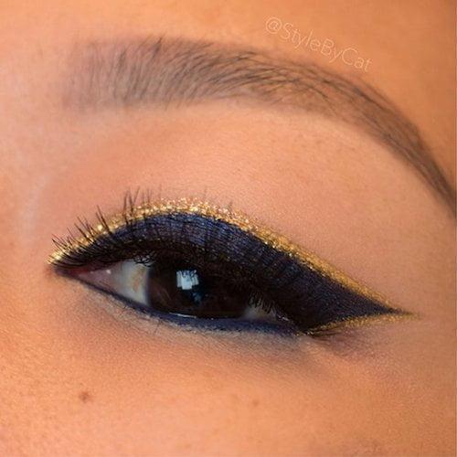 gold eye makeup hightlights