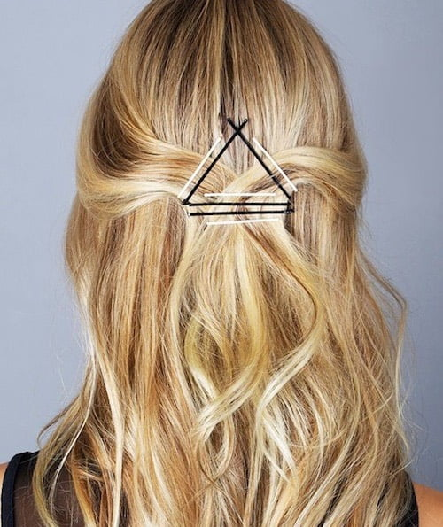 long hair pinned half updo