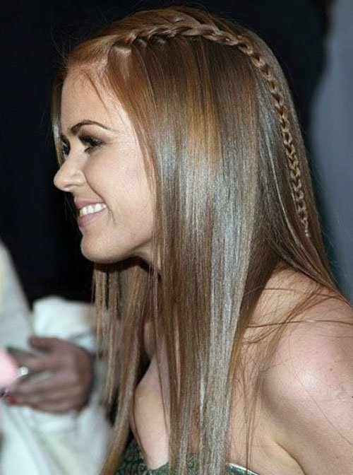 long straight hair tiny braids