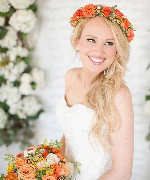 wedding preppy bride hair