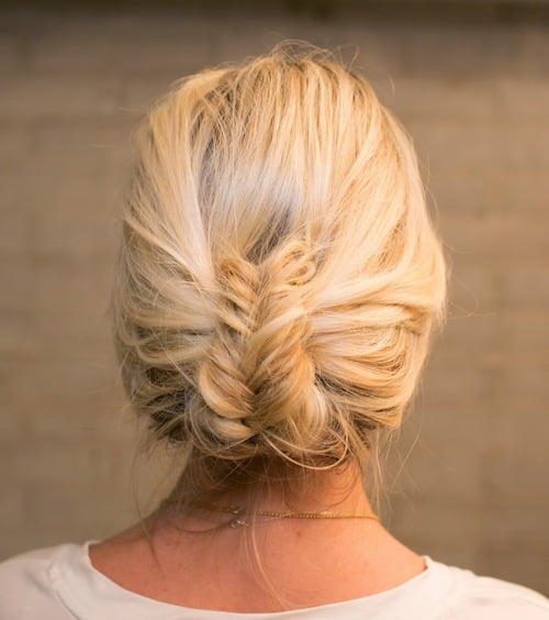 wrapped fishtail updo