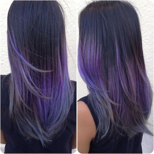 balayage asian purple hair