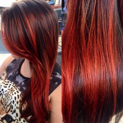 balayage long red hair