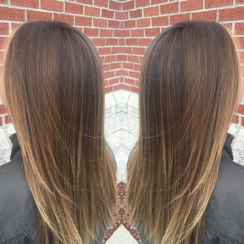 balayage straight subtle hair