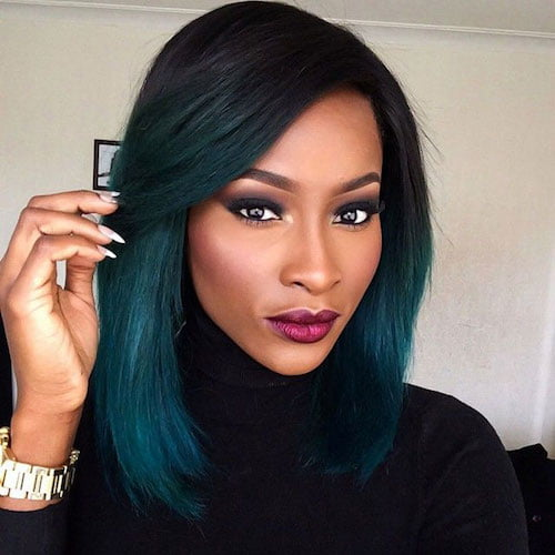 black girl seafoam green hair