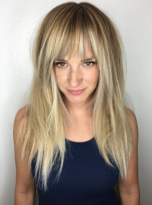long hair balayage bangs