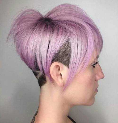 shaved pastel pixie haircut