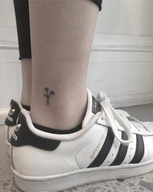 ankle mini tattoo flower