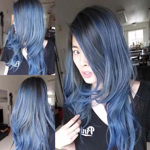 denim hair black blue