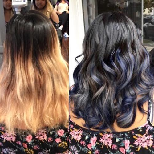 denim hair color before and after