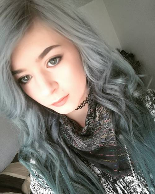 denim hair green blue